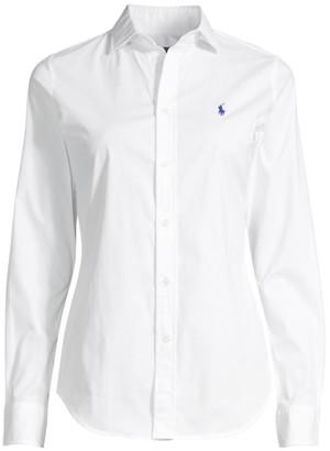 Ralph Lauren Kendall Long-Sleeve Button-Front Blouse