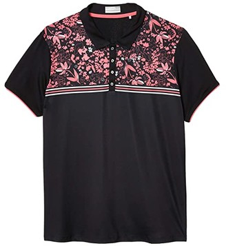 Callaway Engineered Chest Floral Striped Polo (Caviar) Women's Clothing
