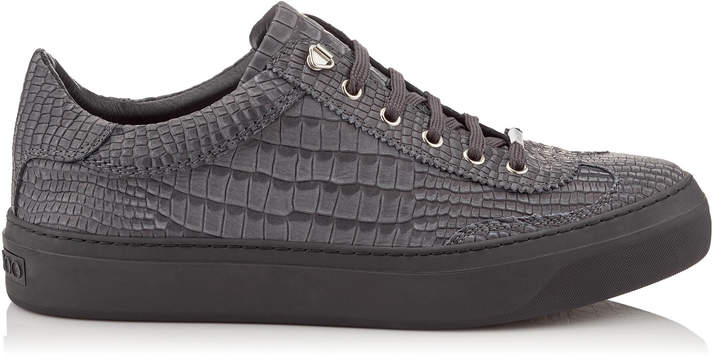 Jimmy Choo ACE Slate Crocodile Printed Nubuck Leather Low Top Trainers
