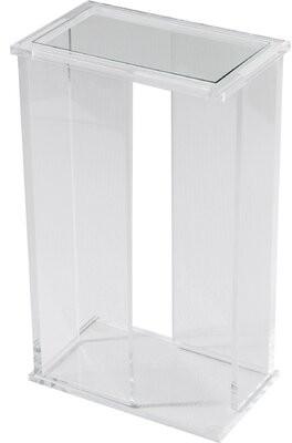 Interlude Mercer Glass Top Frame End Table