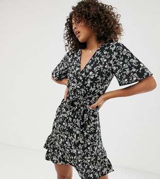 New Look Tall wrap dress in black ditsy floral