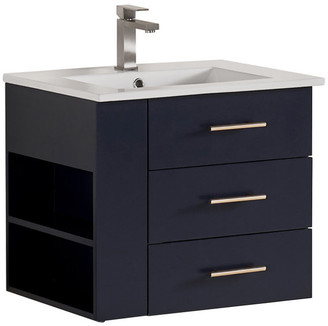 "Constantia 24"" Left Side Shelf Vanity Wood Body w/ Premium White Ceramic, Marine"
