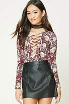 Forever 21 FOREVER 21+ Floral Print Lace-Up Bodysuit