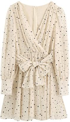 Goodnight Macaroon 'Sonika' V-Neck Dotted Waist Tied Mini Dress