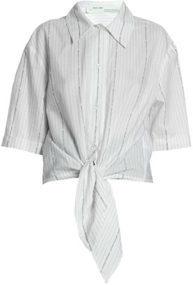 Off-White Knot-Front Cotton Poplin Shirt