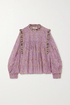 Etoile Isabel Marant Vega Pintucked Floral-print Cotton-voile Blouse - Lilac