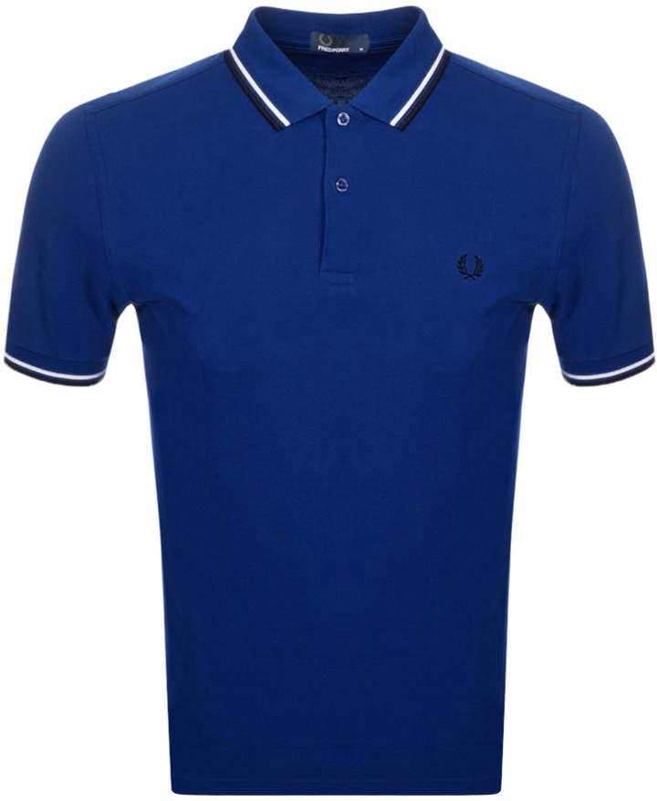 Fred Perry Twin Tipped Polo T Shirt Blue