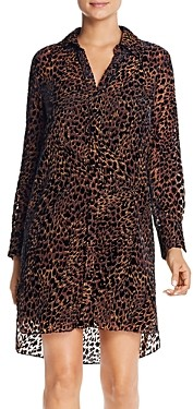 Elie Tahari Juliet Leopard Velvet Burnout Dress