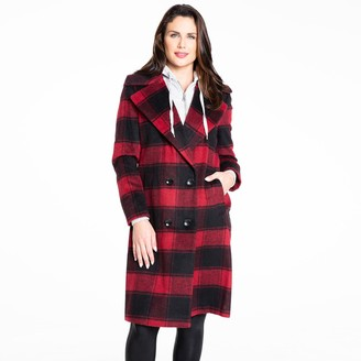 Fleet Street Women's Inner-Hoodie Wool-Blend Plaid Coat