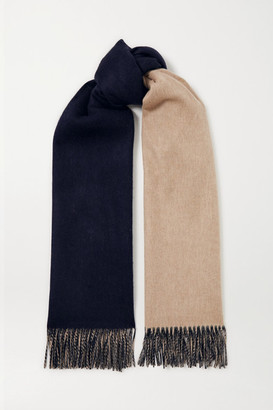 Johnstons of Elgin + Net Sustain Reversible Fringed Cashmere Scarf - Navy