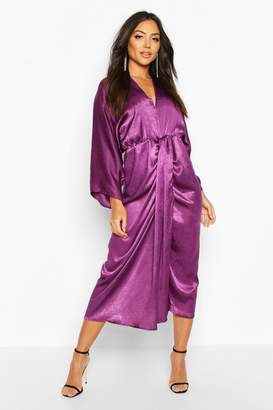 boohoo Velvet Satin Batwing Midaxi Dress