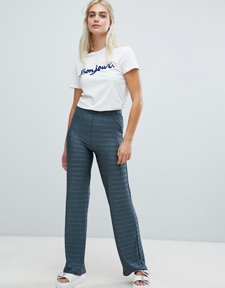 Pieces Metallic Stripe Wide Leg Trouser