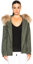 Mr & Mrs Italy Short Canvas Parka Jacket with Raccoon Fur