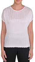 Allison Daley Petite Knit Zigzag Pleated Shell