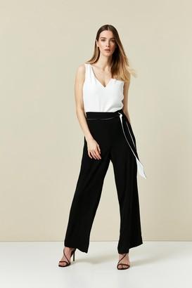 Wallis Monochrome Tie Front Jumpsuit