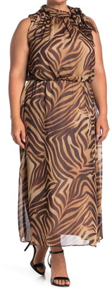 London Times Animal Print Tie Neck Sleeveless Maxi Dress