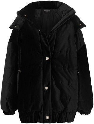 Mother of Pearl Porter Embellished Quilted Cotton-velvet Hooded Jacket