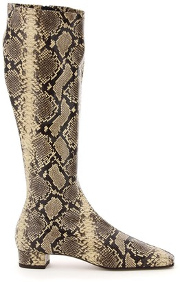BY FAR Edie Animal Print Knee-High Boots