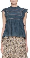 Etoile Isabel Marant Vivia Sleeveless Cotton Blouse with Lace Trim