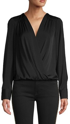 BCBGMAXAZRIA Faux-Wrap Long Sleeve Bodysuit