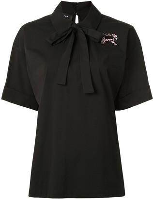 Rochas Bow-Embellished Poplin Shirt
