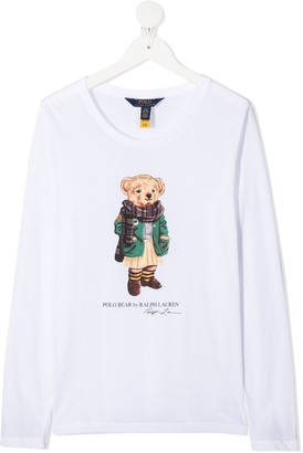 Ralph Lauren Kids Scarf Bear longsleeved T-shirt