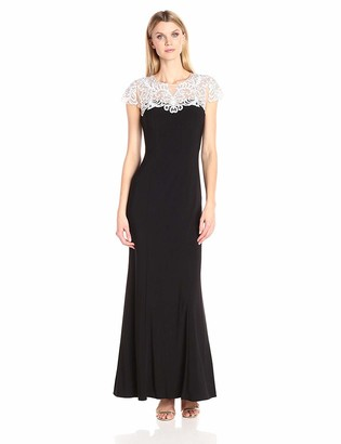 Alex Evenings Women's Long Sweetheart Neckline Embroidered Dress