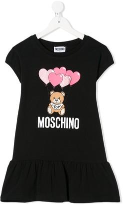 MOSCHINO BAMBINO Logo Teddy Print Dress