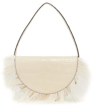 STAUD Amal Ostrich Trim Croc-effect Leather Shoulder Bag - Womens - Cream