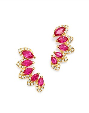 Bloomingdale's Ruby & Diamond Climber Earrings in 14K Yellow Gold - 100% Exclusive