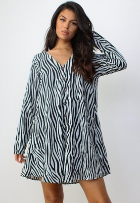 Missguided Zebra Print Button Through Smock Dress