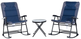 Aosom Outsunny 3 Piece Folding Outdoor Rocking Chair and Table Set - Blue and Grey