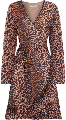 Ganni Tilden Leopard-print Stretch-mesh Mini Wrap Dress