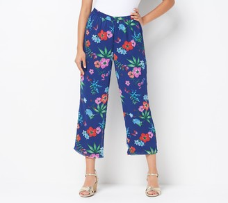 Linea By Louis Dell'olio by Louis Dell'Olio Regular Crinkle Georgette Crop Pull-On Pants