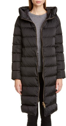 Herno Long A-Line Down Sateen Puffer Coat