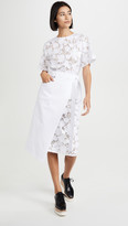 GOEN.J Burnout Denim Lace Wrap Dress