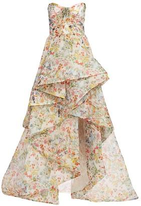 Monique Lhuillier Paradise-Print Silk Organza Gown