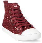Ralph Lauren Hollyn Glitter Mid-Top Sneaker Burgundy Glitter 3.5