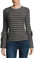 Miss Chievous Long Sleeve Crew Neck Knit Stripe Blouse-Juniors