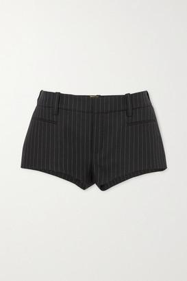 Saint Laurent Pinstriped Wool-twill Shorts - Black