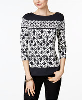 Charter Club Mixed-Print Boat-Neck Top, Only at Macys