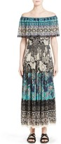 Fuzzi Women's Off-The-Shoulder Batik Maxi Dress