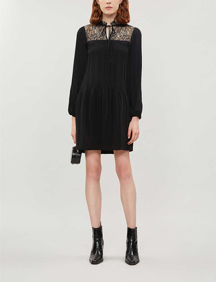 Maje Lace-panel woven dress