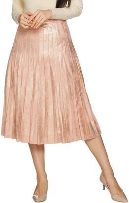 Du Jour Metallic Faux Suede Pleated Midi Skirt