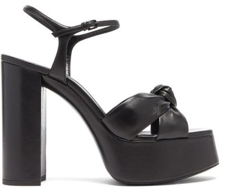 Saint Laurent Bianca Knotted Leather Platform Sandals - Black