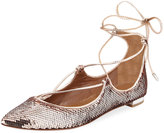 Aquazzura Christy Sequin Ballerina Flat, Rose Gold