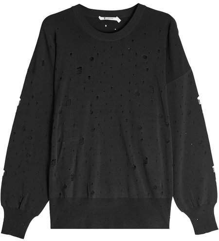 Alexander Wang Oversized Sweatshirt with Distressed Detail