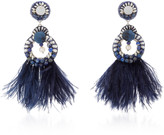 Ranjana Khan Navy Gold-Plated, Feather and Crystal Clip Earrings