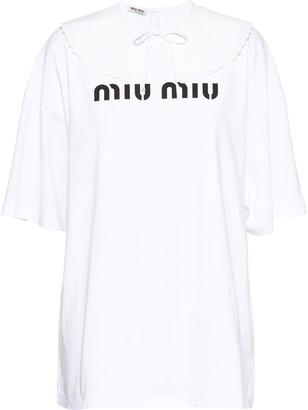 Miu Miu logo-print cotton T-shirt