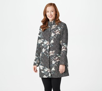 Dennis Basso Madison Avenue Woven Brocade Snap-Front Topper